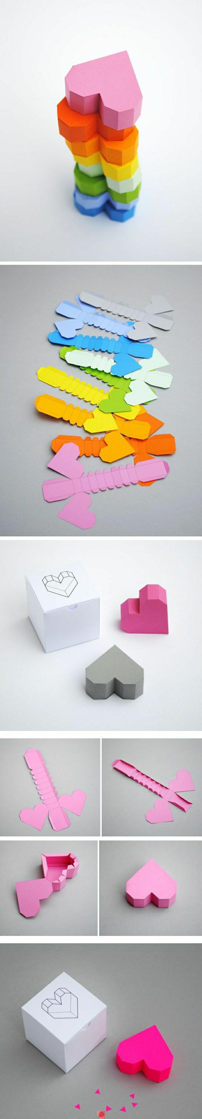 pliage-papier-comment-faire-un-origamie-en-papier-coloré-rose-figures-en-papier