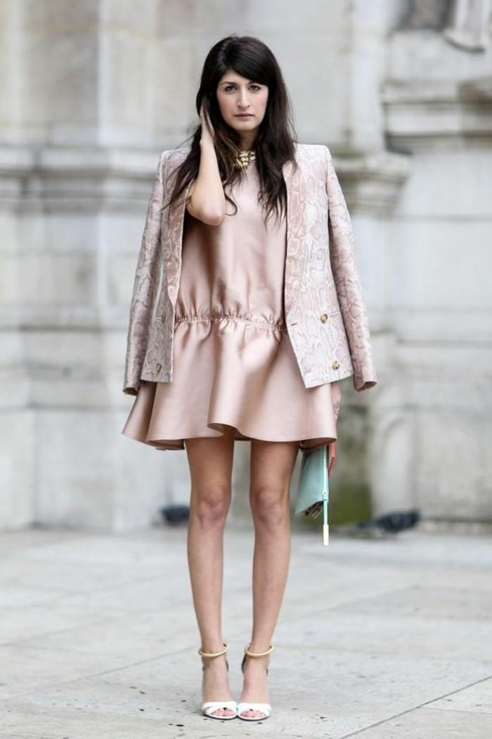 robe-mi-longue-rose-pale-robe-satinée-rose-veste-satinrose-robe-invitée-mariage