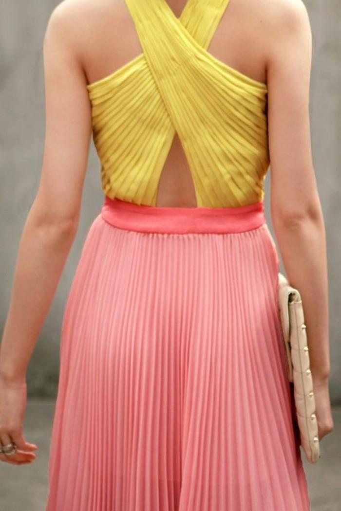 robe-plissée-jaune-et-rose-pale-robe-chic-pas-cher-mode-femme-tenue-ceremonie-femme