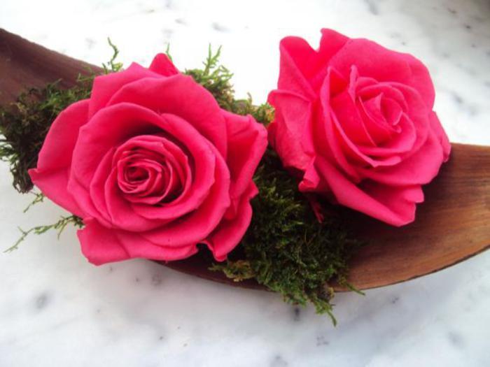 rose-stabilisée-composition-avec-deux-roses-éternelles