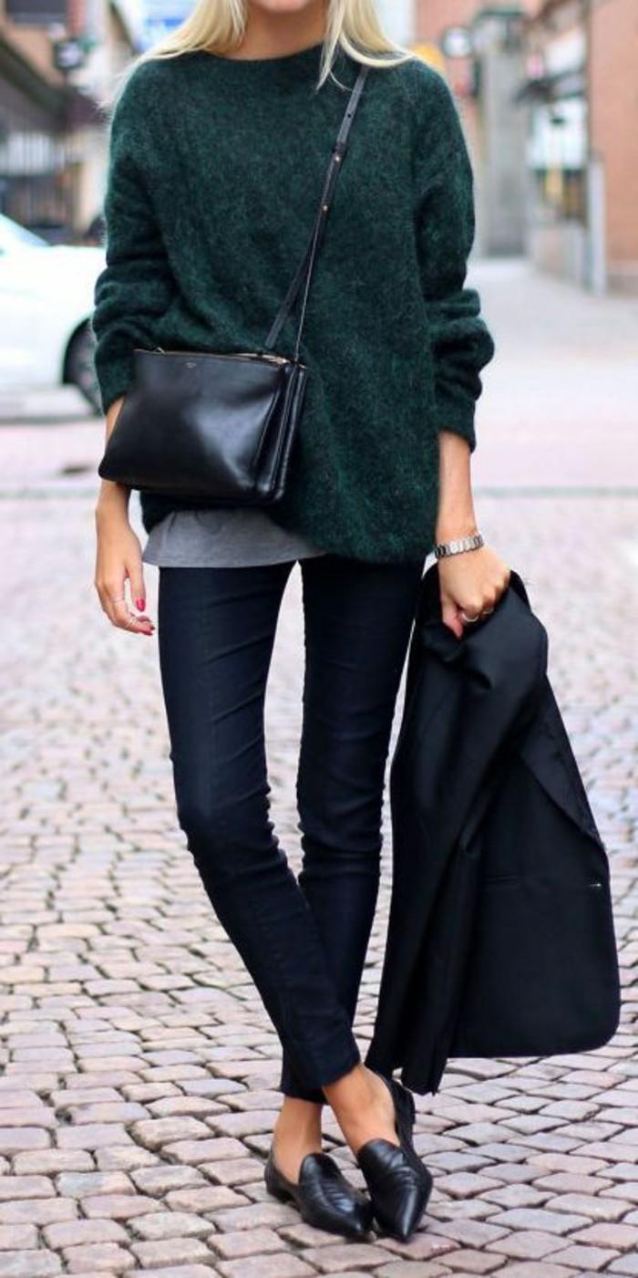 sac-bandouliere-en-cuir-noir-jeans-slim-pull-vert-foncé-bien-s-habiller-femme-tendances-2016