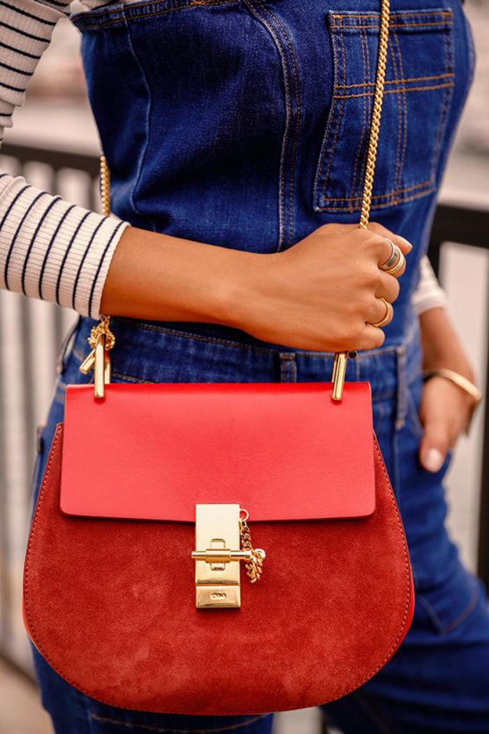 sac-chloe-sac-bandoulière-chaine-cuir-et-velours-rouge