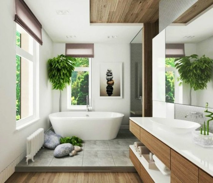 baignoire blanche dans la salle de bain zen idees deco salle de bain - Salle De Bain Wenge Zen
