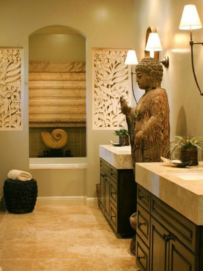 Couleur Peinture Interieur 2017 : ambiance salle de bain zen, statue de budha, meuble salle de bain