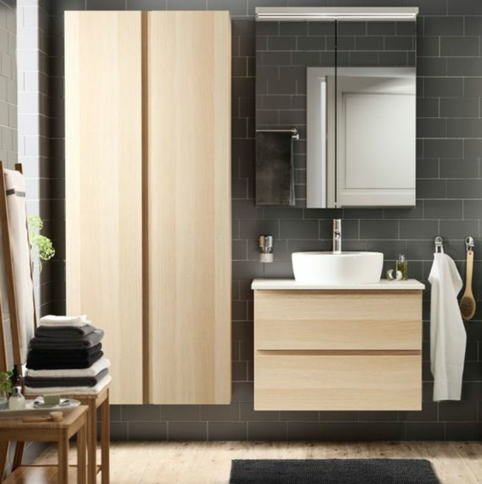 salle de bain grise et bois. Black Bedroom Furniture Sets. Home Design Ideas