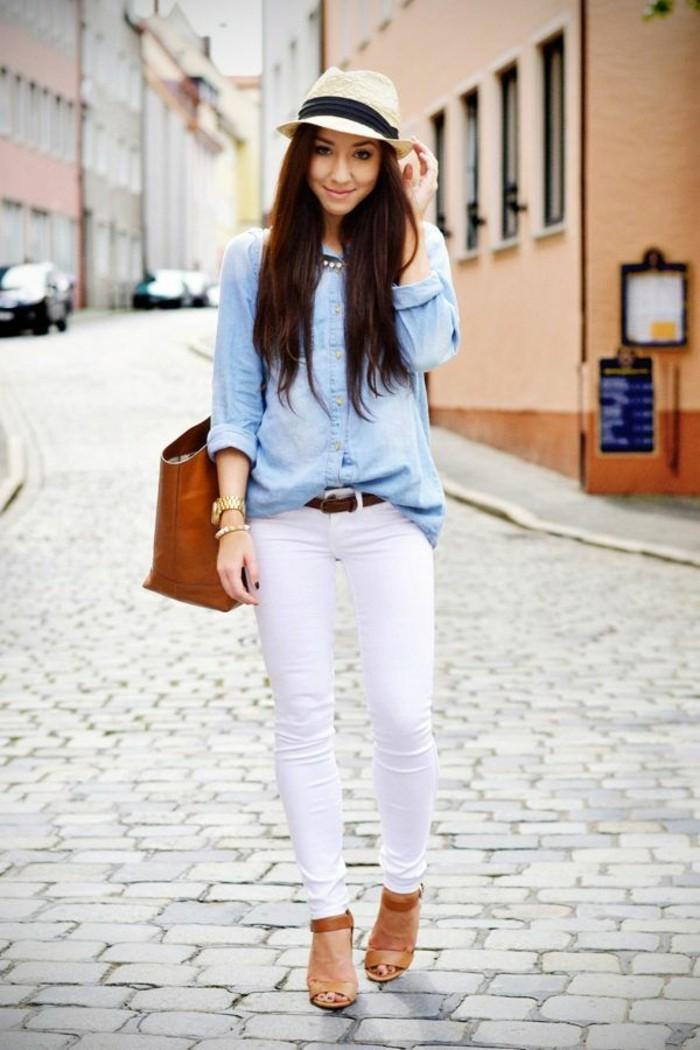 46 fa ons de porter les jeans blanc femme cette t. Black Bedroom Furniture Sets. Home Design Ideas
