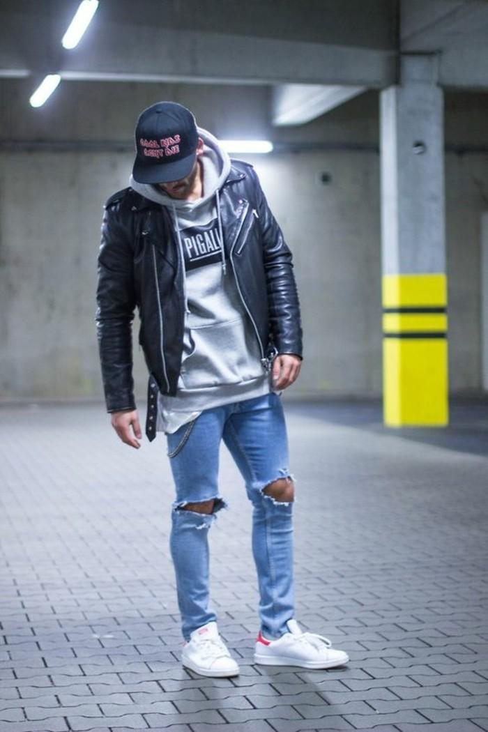 sneakers-homme-blanc-denim-déchiré-pull-gris-veste-homme-pas-cher-noir