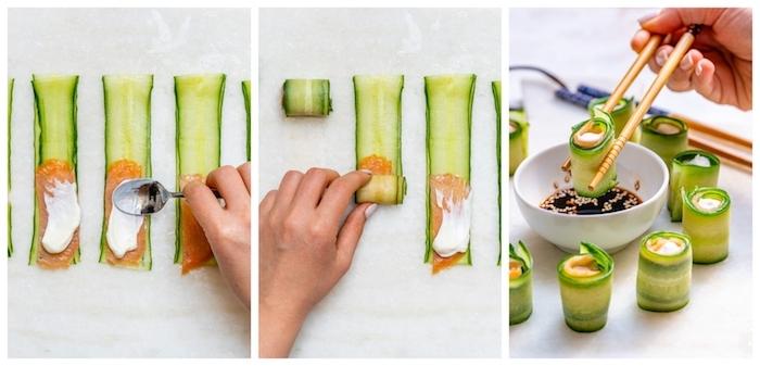 idée de sushi sans riz de rouleaux de concombre avec saumon et fromage à la crème dans sauce sésame et soja, idée entrée froide