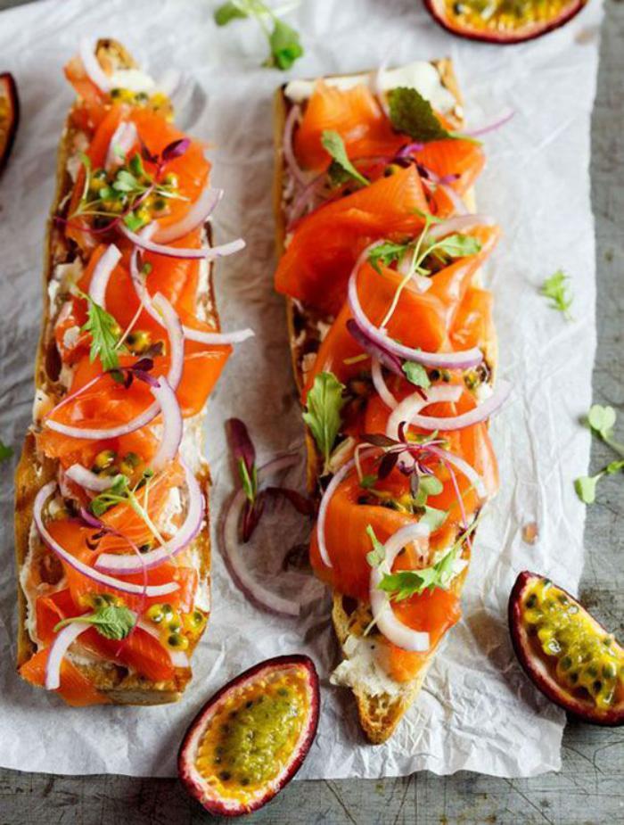 tartines-salées-tranches-de-baguettes-au-saumon-fumée
