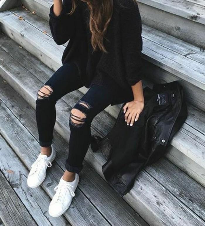 tenue-de-jour-chaussure-toute-blanche-escaliers