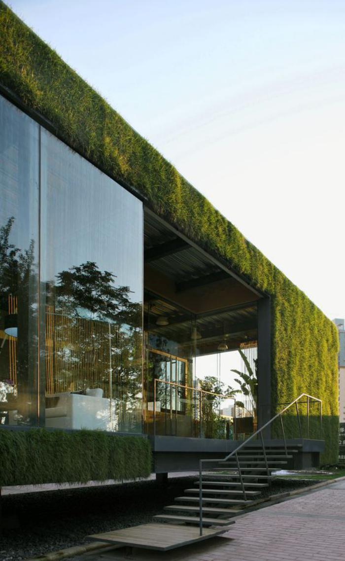 toiture-végétalisée-bâtiment-moderne-architecture-cubique
