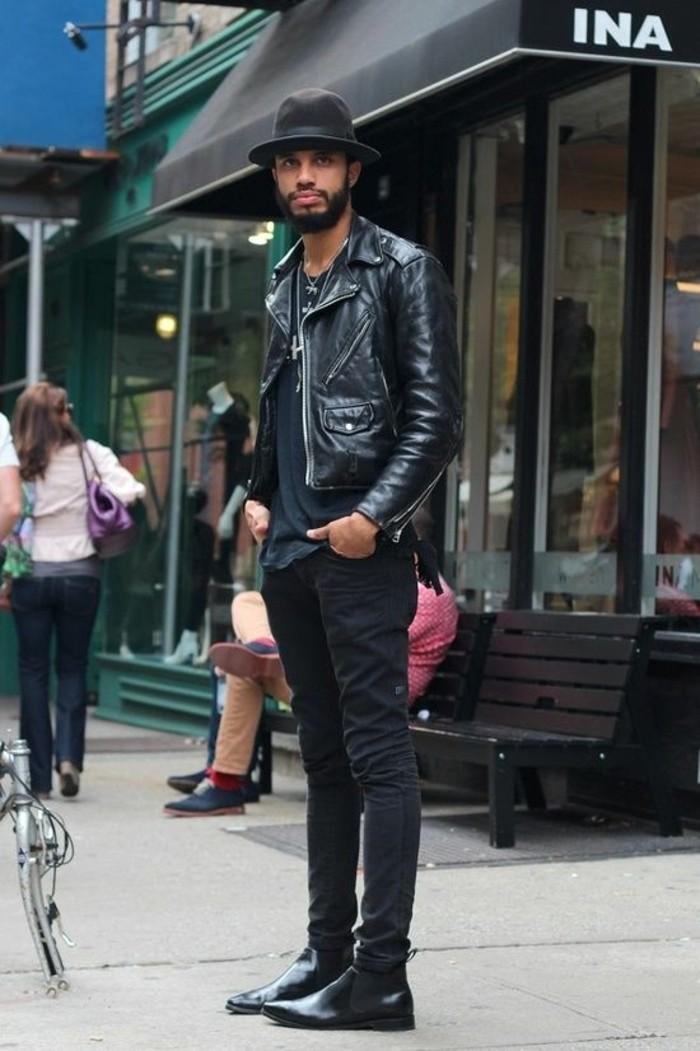 vest-cuire-homme-pas-cher-denim-noir-vetements-homme-élégants-t-shirt-noir-homme