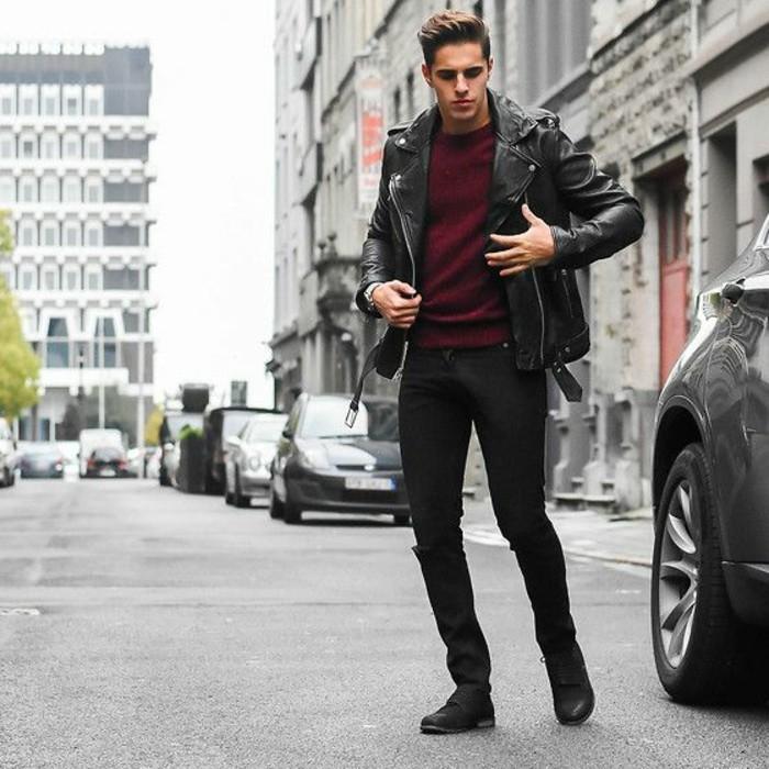 vest-cuire-homme-pas-cher-pantalon-noir-blouse-rouge-foncé-mode-homme