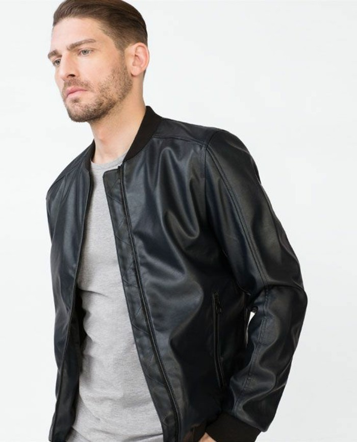 veste-cuir-homme-en-cuir-noir-les-tendances-mode-homme-pas-cher-t-shirt-gris