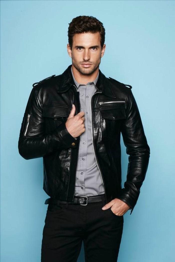 veste-cuir-homme-pantalon-noir-homme-chemise-grise-design-homme