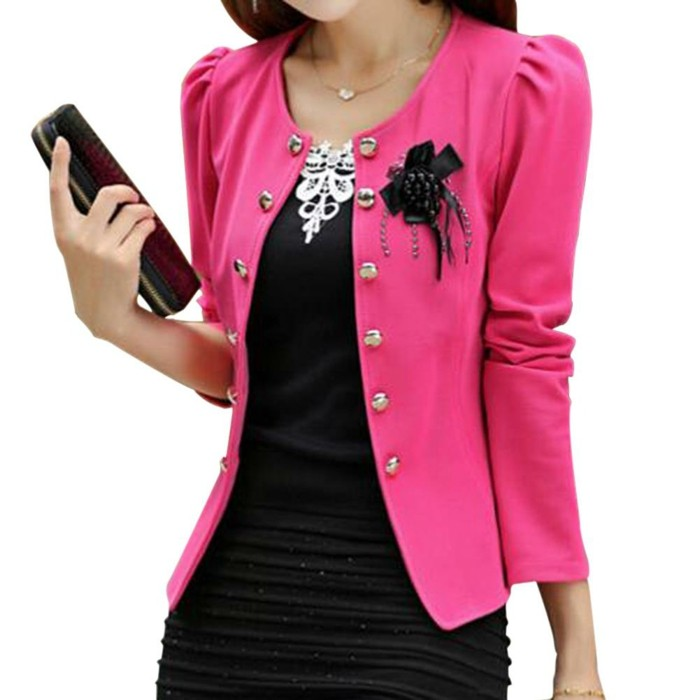 Veste Fashion Fleur Femme Rose Et Noir