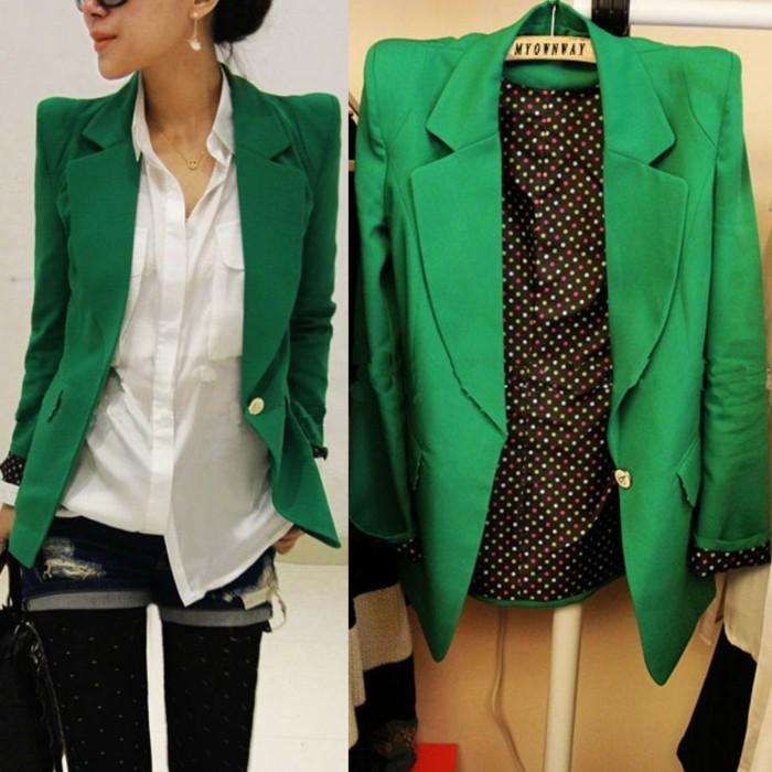 veste-d'-été-femme-vert-aux-manches-bouffantes-elegant-resized