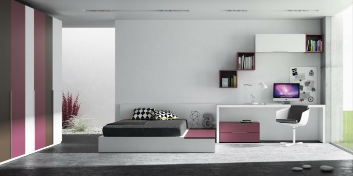 chambre enfant gris et rose valdiz. Black Bedroom Furniture Sets. Home Design Ideas