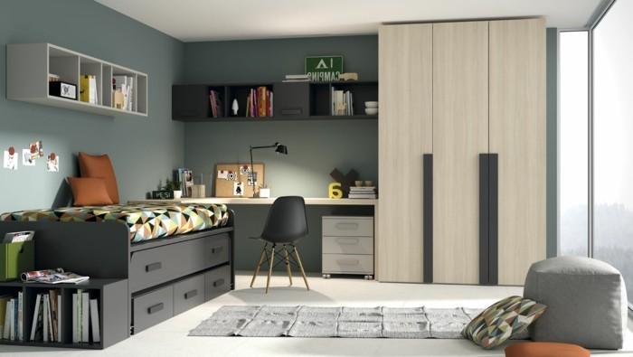 0-amenagement-chambre-ado-garcon-tapis-gris-sol-en-lino-beige-mur-vert-foncé
