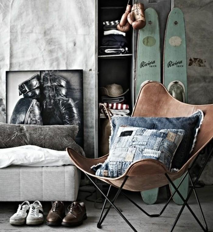 0-chambre-d-ado-garçon-style-chic-chaise-en-cuir-butterfly-chambre-ado-deco-pas-cher