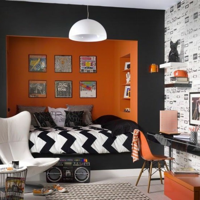 deco chambre ado garcon orange 044820 la. Black Bedroom Furniture Sets. Home Design Ideas