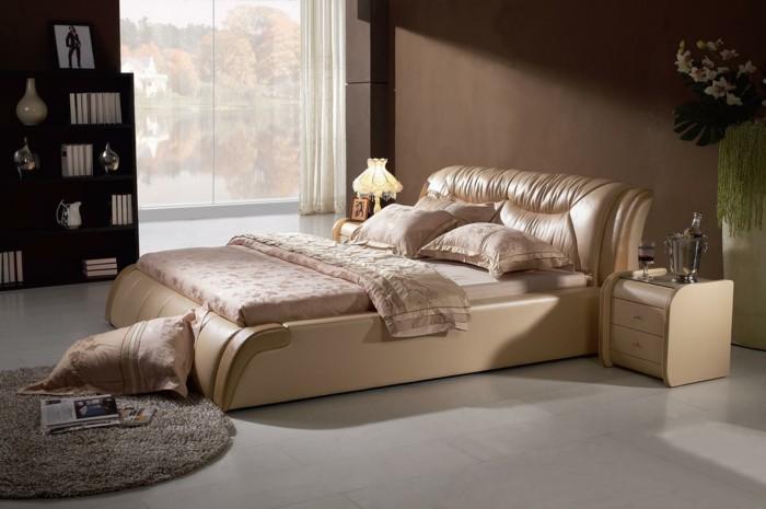 0-lit-double-pas-cher-en-cuir-beige-grande-fenêtre-tapis-rond-petit-design-sol-en-carreaux-gris