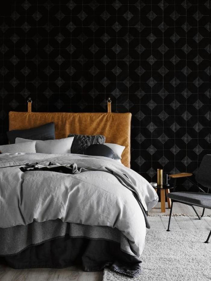 tete de lit papier peint imitation cuir. Black Bedroom Furniture Sets. Home Design Ideas