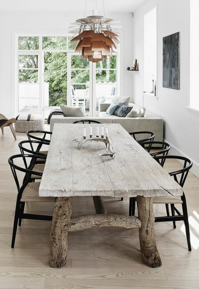 Quelle d co salle manger choisir id es en 64 photos - Table en bois brut design ...