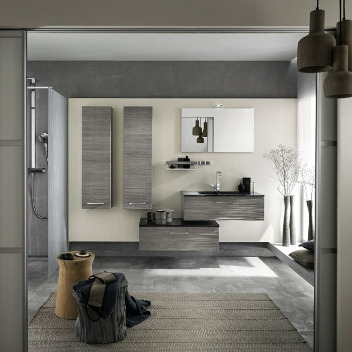 salle de bain grise et beige maison design. Black Bedroom Furniture Sets. Home Design Ideas