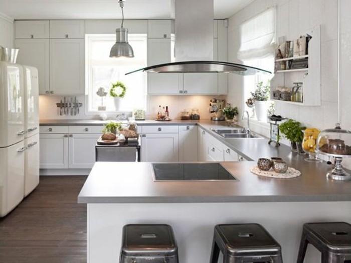 Parquet cuisine ouverte peinture chambre marron glace for Modele de cuisine avec table bar