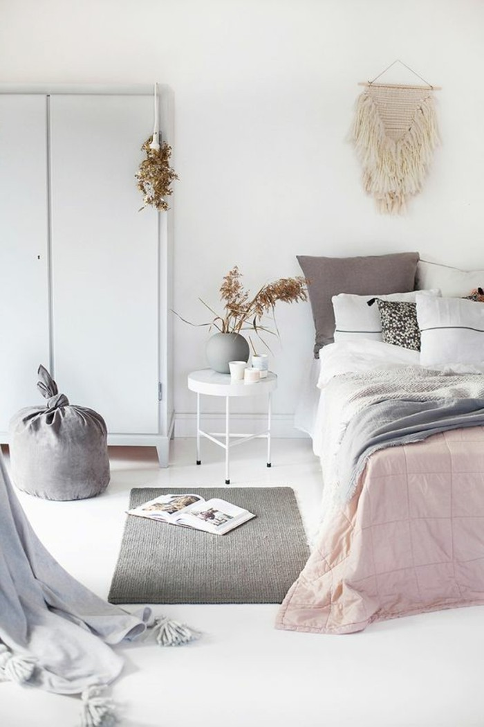 tapis chambre gris et rose avec des id es. Black Bedroom Furniture Sets. Home Design Ideas