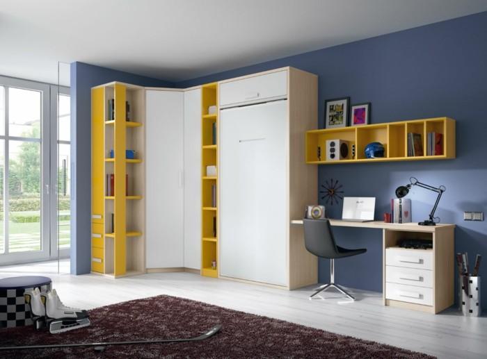 00-amenagement-chambre-ado-garcon-tapis-marron-foncé-meubles-blanc-jaunes-grande-fenetre
