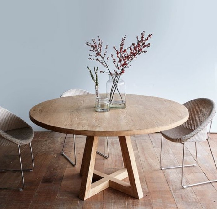 La plus originale table de cuisine ronde en 56 photos for Table haute en bois pas cher