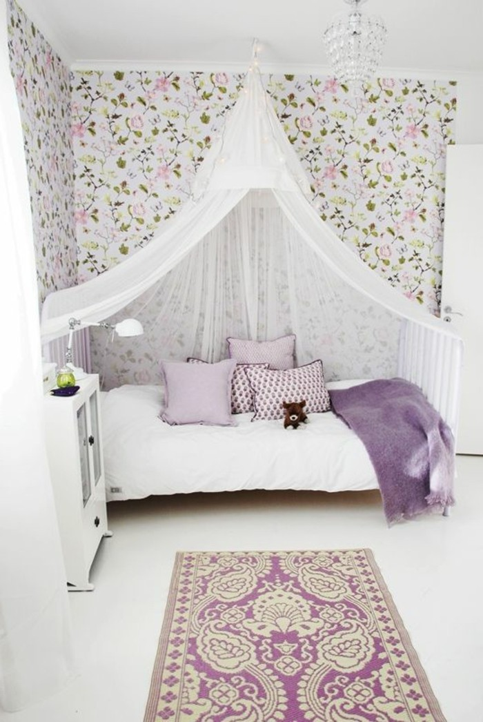 1-créer-la-plus-belle-idées-pour-la-chambre-d-ado-fille-idee-deco-chambre-ado-conforama-papier-peint-dessin-floral