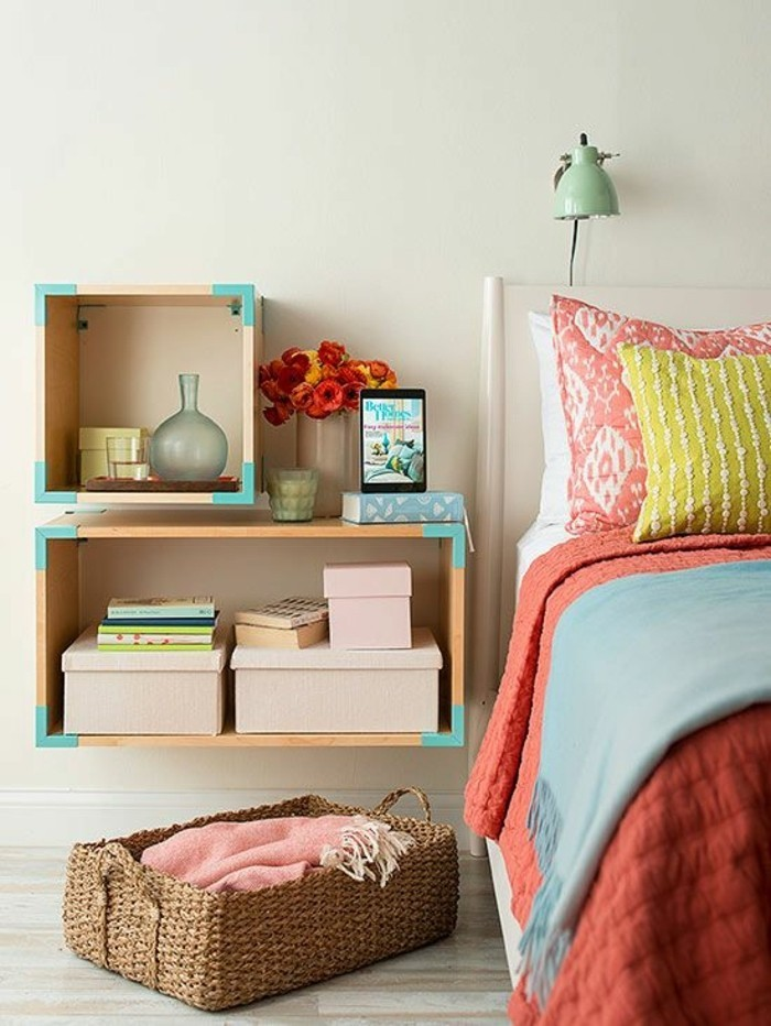 1-idées-pour-la-chambre-d-ado-chambre-colorée-couverture-de-lit-colorée-lampe-de-lecture-verte