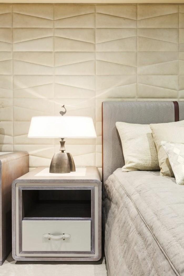 Idee Deco Chambre Garcon Kaki :  lit en cuir beige, lit deux personnes dans la chambre a coucher chic