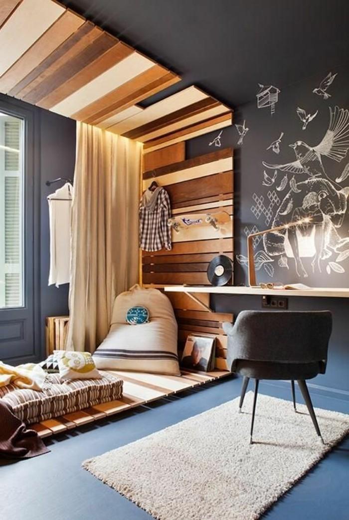 1-rideau-séparation-chambre-studio-decoration-avec-lambris-en-bois-clair-murs-gris