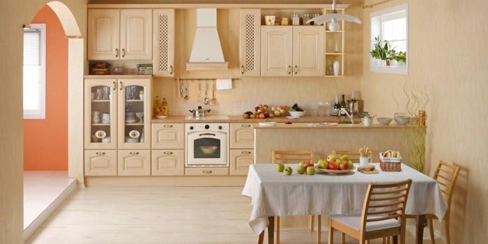 3-Peinture-beige-rosé-cuisine-fruits-sur-la-table
