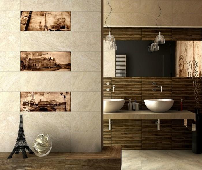 Salle de bain taupe et lin photo salle de bains et for Couleur mur salle de bain