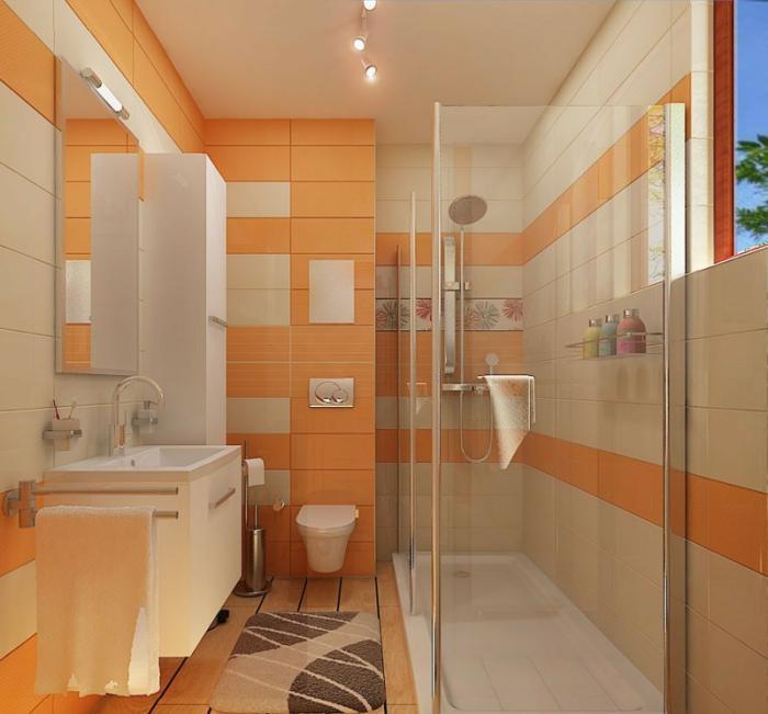 aménagement-petite-salle-de-bains-idée-aménagement-petite-salle-de-bains-orange