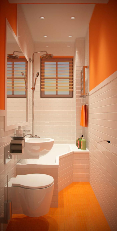 aménagement-petite-salle-de-bains-idée-déco-salle-de-bain-en-blanc-et-orange