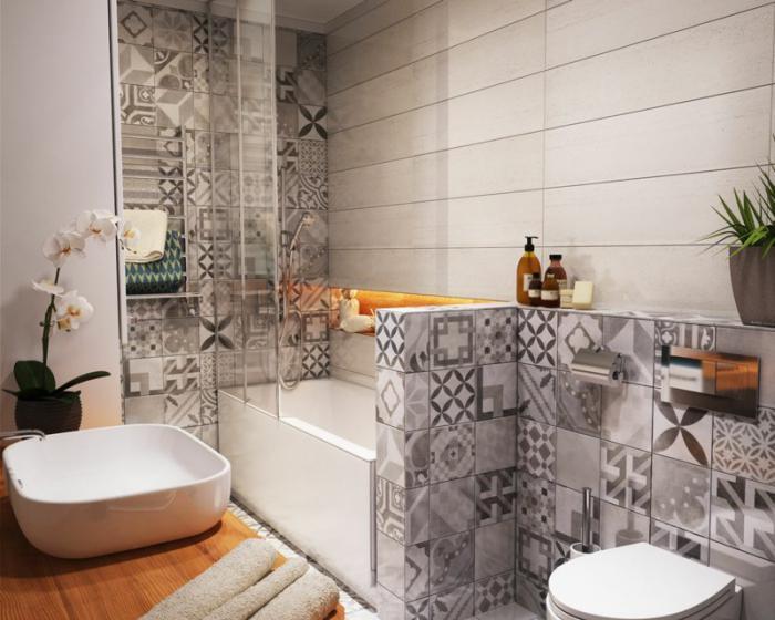 aménagement-petite-salle-de-bains-meuble-sous-vasque-en-bois