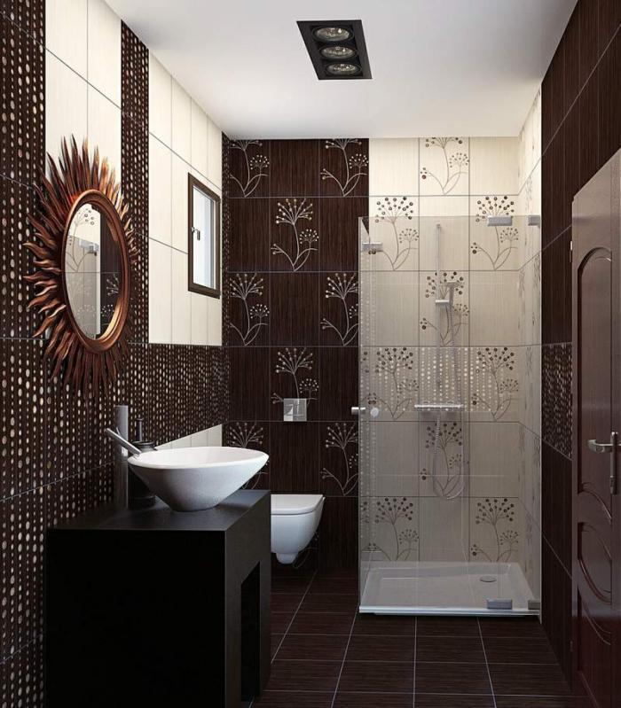 aménagement-petite-salle-de-bains-petite-cabine-de-douche-motifs-floraux