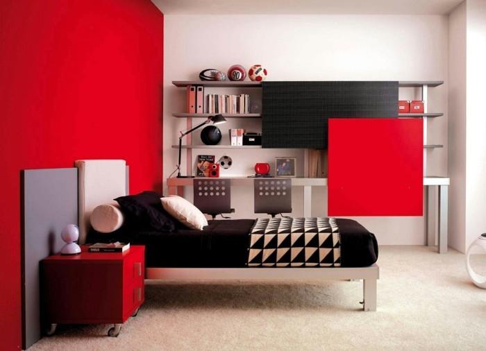 Tapis Salon Beige Taupe : chambre mur rouge et noir meubles en bois couleur noir murs rouges et