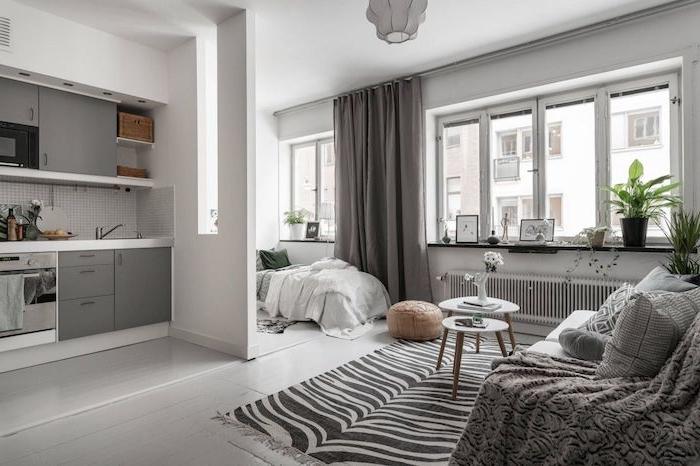 cuisine blanche et grise séparée d un coin couchage ouvert sur salon gris et blanc scandinave avec tapis zebre et canapé gris