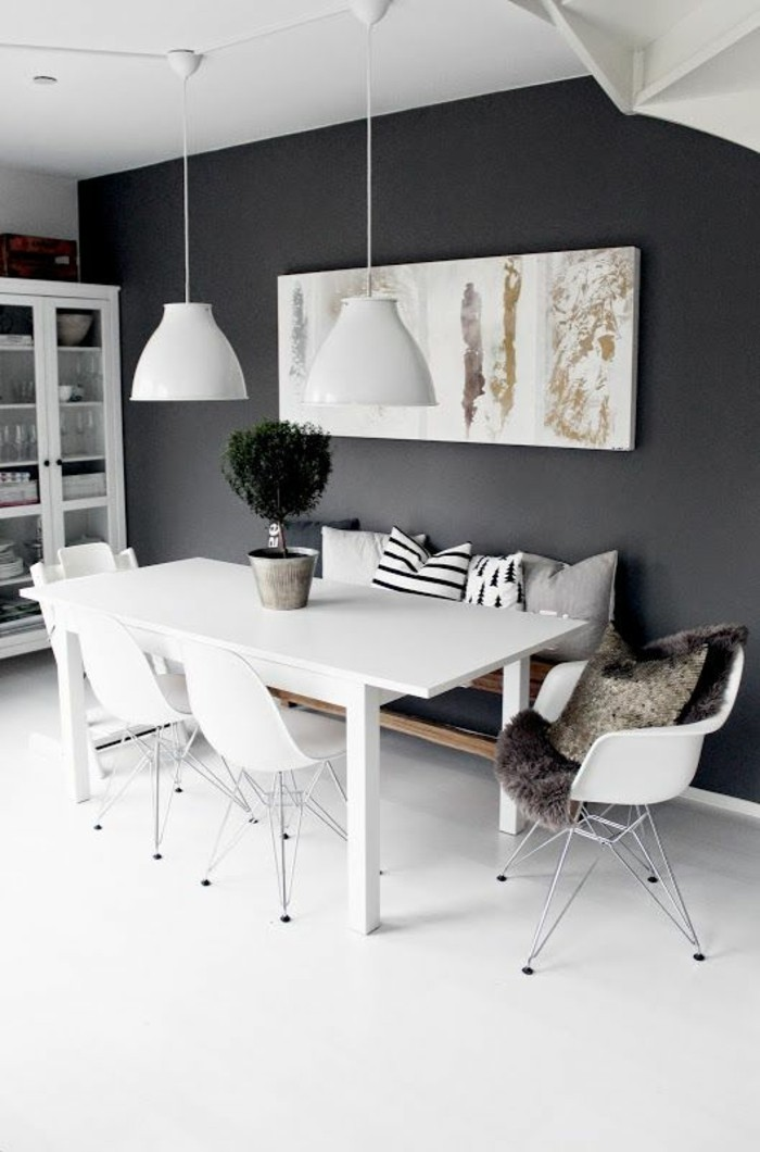 Quelle d co salle manger choisir id es en 64 photos - Comment decorer un grand mur blanc ...