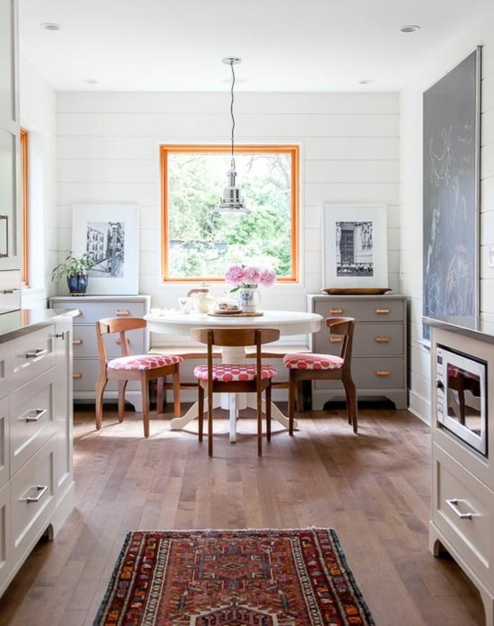 La plus originale table de cuisine ronde en 56 photos - Meuble salle a manger blanc vieilli ...