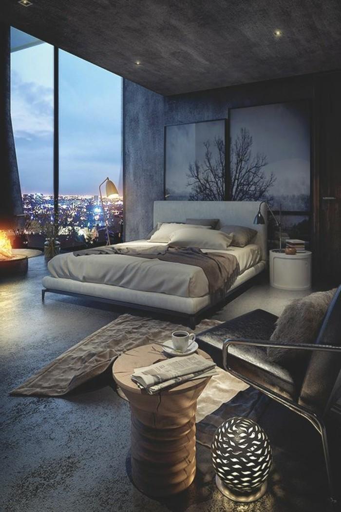 chambre-a-coucher-avec-vue-decoration-appartement-déco-chambre-a-coucher-tableaux-art