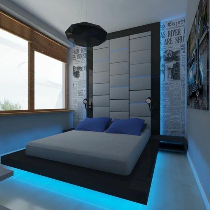 chambre-ado-garcon-idees-sol-en-parquet-meuble-avec-led-chambre-a-coucher-coussins-sur-le-lit-double