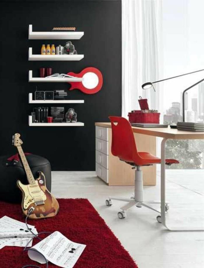 chambre-ado-garcon-tapis-rouge-meubles-ado-garcon-idee-deco-mur-en-gris-foncé